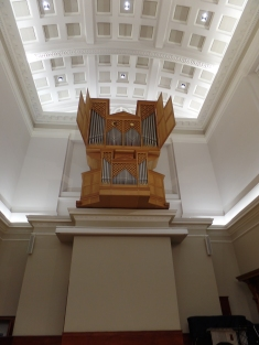 Beautiful façade of the 1978 Ahrend organ in Reid Hall, Edinburgh University